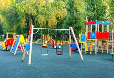 Children`s playground in the public park. Russia. Autumn. royalty free stock photo