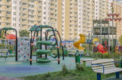 Children`s Playground in a residential area on the background of royalty free stock photo