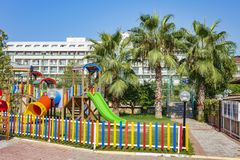 Children`s playground in resort hotel on tropical vacation.  Royalty Free Stock Images