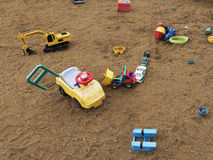 Children`s playground with sandbox and toys, relaxation park. Familie place. Royalty Free Stock Images