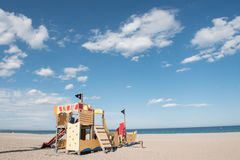 Children`s playground on the sandy beach. Children`s playground on the sandy beach, blue sky background Stock Photography