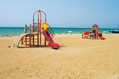 Children's playground by the sea. Royalty Free Stock Photo