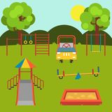 Children`s playground. Set. Baby-themed flat stock illustration with isolated element. vector illustration