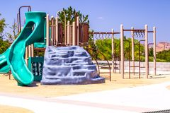Children`s Playground Set With Slide. Children`s Play Set At Local Playground Royalty Free Stock Image