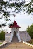 Children`s playground slide. Children`s playground for skating. Looks like a castle Stock Image