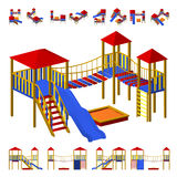 Children`s playground with slide, hanging ladder, and a sandbox. The different  projections from different angles, isometric and f. Children`s playground with Royalty Free Stock Images
