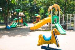 A children`s playground. And slider Stock Photos