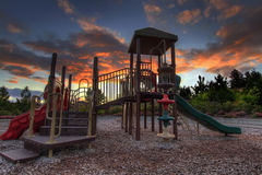 Children's Playground at Sunset Royalty Free Stock Photo