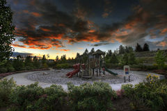 Children's Playground at Sunset 2 royalty free stock photos