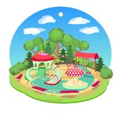 Children`s playground with a swing slide, horizontal bars. Vector summer illustration Royalty Free Stock Photography