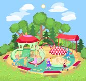 Children`s playground with a swing slide, horizontal bars. Vector summer illustration Stock Photos