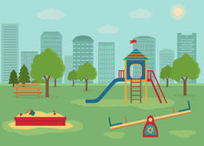 Children`s playground with swings, a slide, a sandpit. Royalty Free Stock Photo