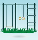 Children's playground. With swings, vector royalty free illustration