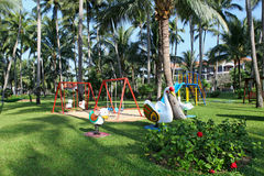 Children's playground at tropics Stock Photo