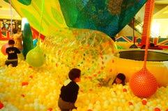 Children`s playground, weekend, children are playing fun Stock Photos