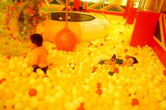 Children`s playground, weekend, children are playing fun Royalty Free Stock Photography
