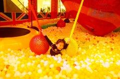 Children`s playground, weekend, children are playing fun Stock Photo