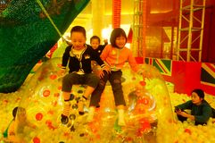 Children`s playground, weekend, children are playing fun Stock Photography