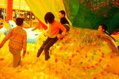 Children`s playground, weekend, children are playing fun Stock Image