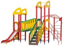 Children`s playground on white. Background stock photo