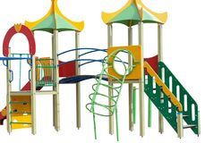 Children`s playground on white. Background royalty free stock photography