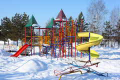 Children's playground in winter Royalty Free Stock Photography
