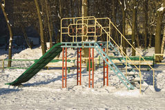 Children's playground in the winter Royalty Free Stock Photo