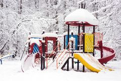 Children`s Playground in the woods Royalty Free Stock Photos