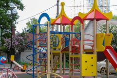 Children`s playground in the yard royalty free stock images