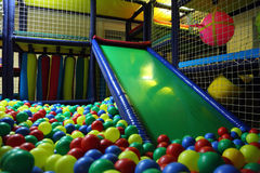 Children`s playroom with multicolor balls Stock Image