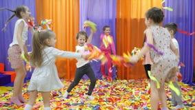 Children`s playroom. Paper show for children. stock video