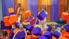Children`s playroom. Play with foam cubes. stock video