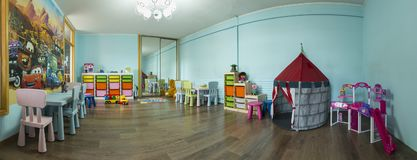 Children`s Playroom with Toys. Kids playroom with toys and furniture Royalty Free Stock Photos