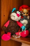 Children`s plush toys on the shelf royalty free stock images