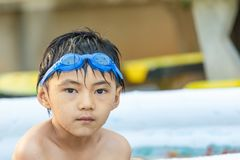 Children`s Pool closeup detail art. Children play in the water closeup detail sport art royalty free stock photos