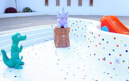 Children pool drained. Children pool without water with fairy tale characters Stock Images