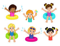 Children's Pool Party  on background. Stock Photos