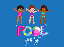 Children's Pool Party  on background. Stock Photo
