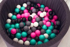 Children`s pool with plastic balls. View from above. Photo of Children`s pool with plastic balls. View from above royalty free stock photo
