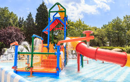 Children`s pool with slide and waterfall on site hotel Flamingo Grand Hotel. Albena Stock Images