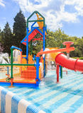Children`s pool with slide and waterfall on site hotel Flamingo Grand Hotel. Albena Royalty Free Stock Photography