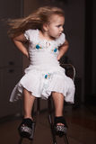Children`s portrait girl in the house, apartment. stock image