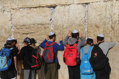 Children's prayer at the Wailing wall Stock Photography