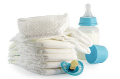 Children's products. Facilities ddlya child care on a white background Stock Photography