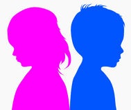 Children's profiles. Happy girl and boy Royalty Free Stock Photography