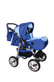 Children's pushchair. Beautiful blue children's pushchair Royalty Free Stock Photos