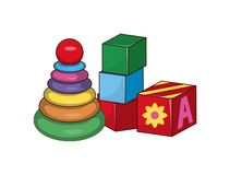 Children s Pyramid, Cubes First Baby Constructors. Building blocks toys, bricks with ABC letters vector illustration set of elements for kids play isolated Stock Illustration