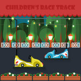 Children's race track. Amusement park . Attractions. Royalty Free Stock Image