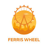 Children`s rides. Ferris wheel. Flat illustration. Royalty Free Stock Images