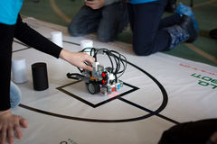 Children`s Robotics. Yoshkar-Ola, Russia - February 12, 2017 Photo of robot tests by children in the children`s robotics club in Yoshkar-Ola Stock Photos